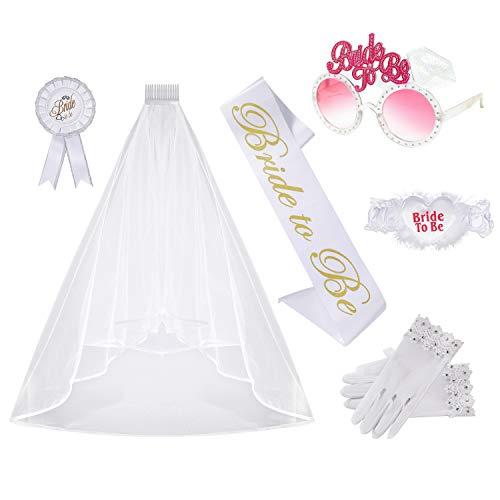 Despedida de Soltera Accesorios Decoración Bride to Be Satin Sash Velo de Novia de Boda con Peine Soltera para Gallina Noche de Ducha Nupcial 6 Piezas