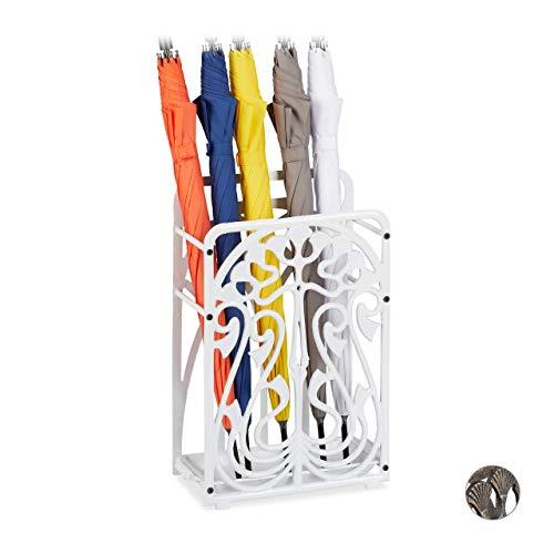 Relaxdays Schirmständer, rechteckig, mit Auffangschale, Gusseisen, Vintage Regenschirmhalter, 48,5x30,5x16 cm, weiß, 1 Stück