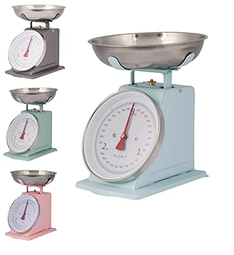 Balanza de cocina retro vintage de metal (azul pastel)