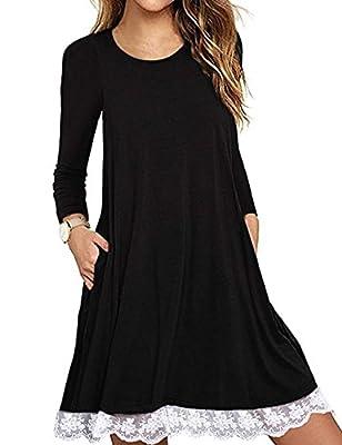 Women's Summer Short Sleeve Lace Hem T-Shirt Loose Dress with Pockets