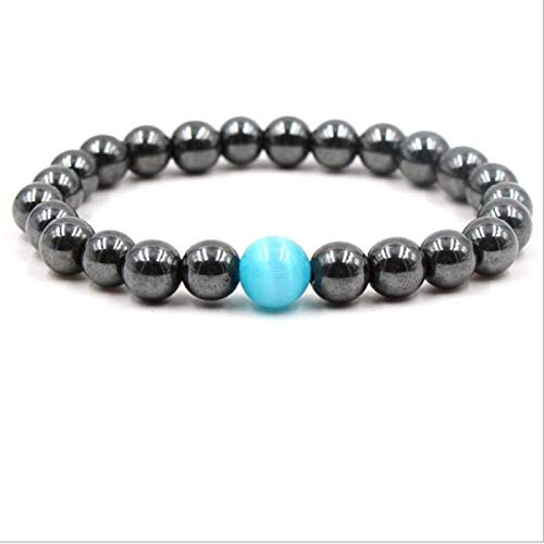 Pulsera de Piedra Mujer, 7 Chakra 8mm Natural Blue Stone Beads Mala Elástico Brazalete Lucky Jewelry Pray Yoga Energy Balance Reiki Unlimited Charm Regalo para un Amigo