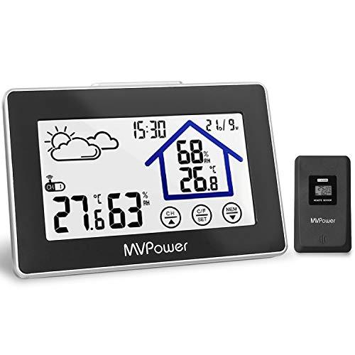 MVPower Funk Wetterstation, Digitale Funkwetterstation mit Außensensor weißes Backlight-Display mit Innen-Außenthermometer Hygrometer-Sensor, Wetterstation Uhr,Datumsanzeige(Schwarz)