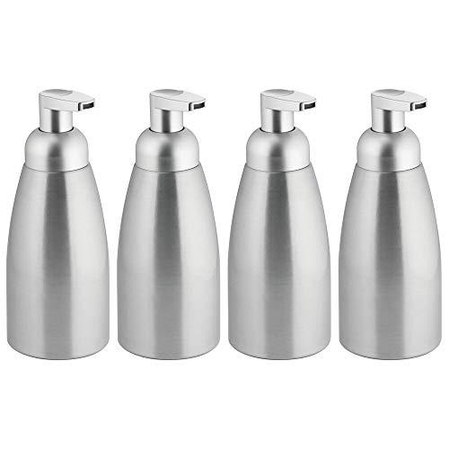 mDesign Dispensador de jabón moderno de metal espumoso, botella de bomba para fregadero de cocina, lavabo de baño, lavadero, garaje,...