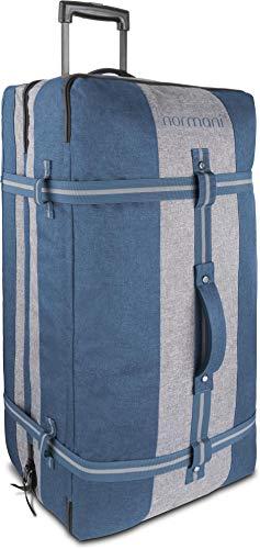 normani XXL Reisetasche mit 125 Liter und 3 großen Fächern - Trolley mt Zwei Rollen Farbe Blau/Grau