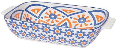 Now Designs Stamped Porcelain Baking Dish, 6 x 9 Inch/1 Quart Capacity, Citrine Design