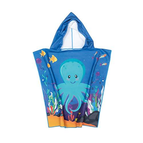 GreenOwl - Poncho de toalla para niños, 100% algodón con botones, ultra suave para baño de playa o piscina de niños, niñas y niños