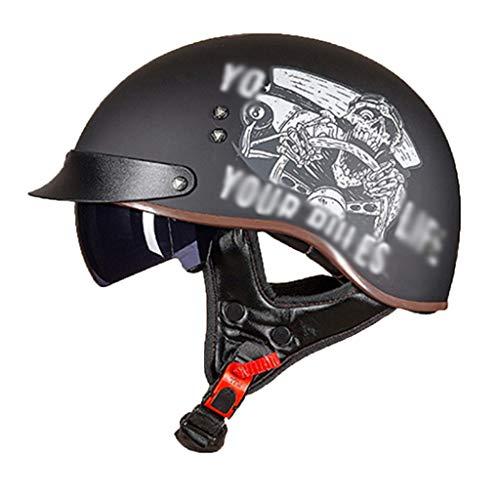 LJP Cascos Abiertos Crash con Gafas para Hombres Mujeres Certificación Dot para Bike Cruiser Coche Eléctrico (57-64 Cm)(Color:Pique,Size:XXL)