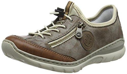 Rieker Damen L3269 Slip On Sneaker, Braun (Brandy/Cigar/Fango/Beige 24), 41 EU