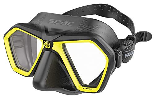 SEAC Eagle Mascara compacta de Volumen reducido para apnea, Pesca submarina y Buceo, Unisex-Adult, Negro/Amarillo