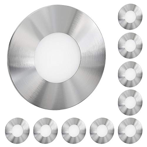 ledscom.de LED Treppen-Licht FEX Stufenbeleuchtung, rund, 8,5cm Ø, 230V, warmweiß, 10 Stk.