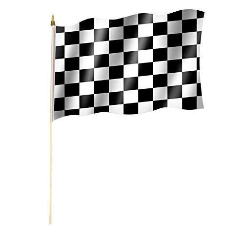 Stockflagge/Stockfahne ZIELFLAGGE/AUTORENNEN/START ZIEL/RENNEN Flagge/Fahne ca. 30 x 45 cm mit ca. 60cm Stab/Stock