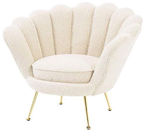 Casa Padrino sillón de salón Art Deco de diseño Blanco/latón 96,5 x 79 x A. 78 cm - Muebles de Salón