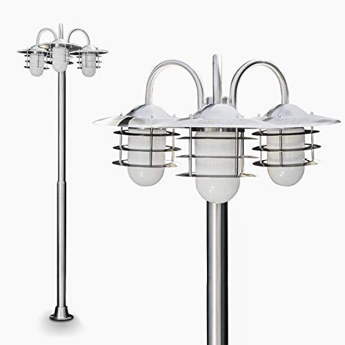 Außenleuchte Rubin, Kandelaber aus Edelstahl modernes Design, mit Lampenschirmen aus Glas,...