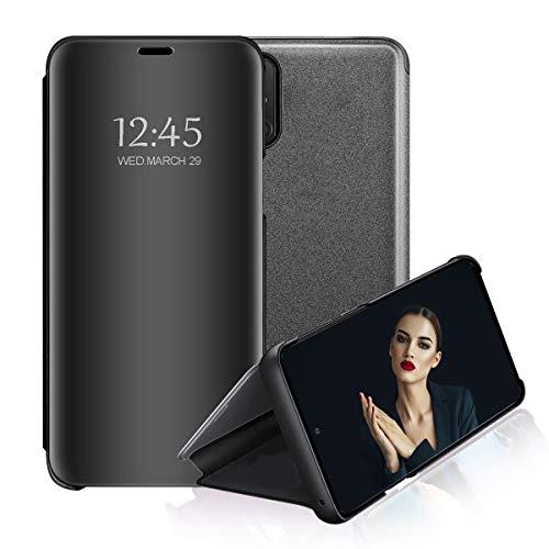 kkkie Kompatibel mit Samsung Galaxy A51 Hülle Leder und Dünn Hart PC Handyhülle Spiegel 360 Grad Stoßfest Screen Protective Cover Flip Schutzhülle Case Kickstand Funktion