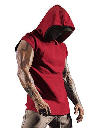 COOFANDY Men's Workout Hooded Tank Top Gym Muscle Cut Off Short Sleeves T-Shirt