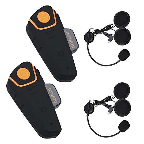 Boblov BT-S2 1000M BT Casco de la Motocicleta Auricular Bluetooth Intercom Moto Headset Intercom Interphone FM (Pack 2)