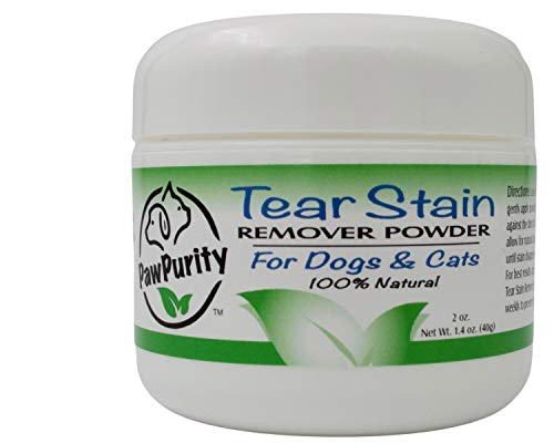 PawPurity Tear Stain Remover Powder for Dogs amp Cats | Powerful Agents Treat The Cause of Staining | 100% Natural | Repels Tears |Continues Working Long After Applied