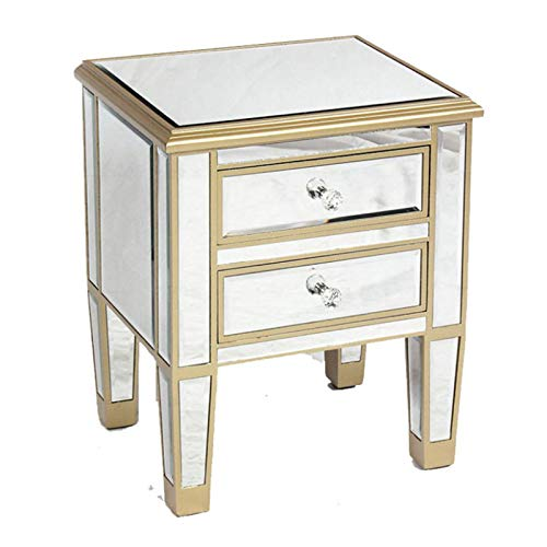 YonCog Corner table Champagne Color Two-drawer Bedside Table Furniture Mirror Bedside Table For Bedroom Bedside Table with Storage (Color : Gold, Size : One size)