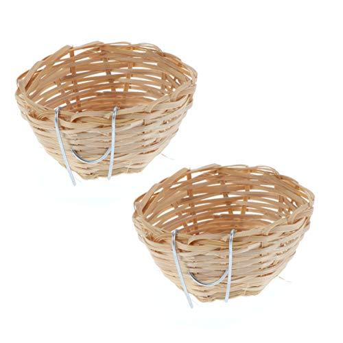 POPETPOP 4 Pack Bird Nest Bamboo - Natures Nest Handmade Bamboo Nest with Hook Counntry-Style Bird Nest for Canary Swallow Finch