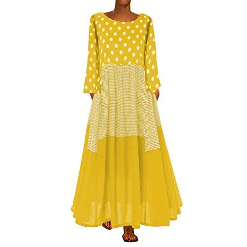 Vestido largo para mujer de manga larga, retro, lunares, patchwork, de los...