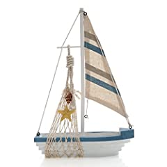 """Decorate your home with this delightful sailboat model.It measures 12.4""""x8.4""""x3.2"""" Comes fully assembled,ready for sending as a sweet and thought gift Handcrafted with great details to bring excellent enjoyment Excellent wedding table centerpiece Per..."""