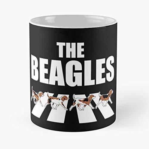 Taza de café de cerámica con texto en inglés 'Dog Road, Beagle Beatles', 'Parodia Amante de la Abadía'