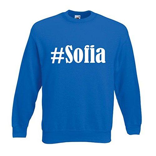 Reifen-Markt Sudadera Hashtag #Sofia para mujer, hombre y niños en los colores negro, blanco y azul con impresión azul 09Mujer 'Large'