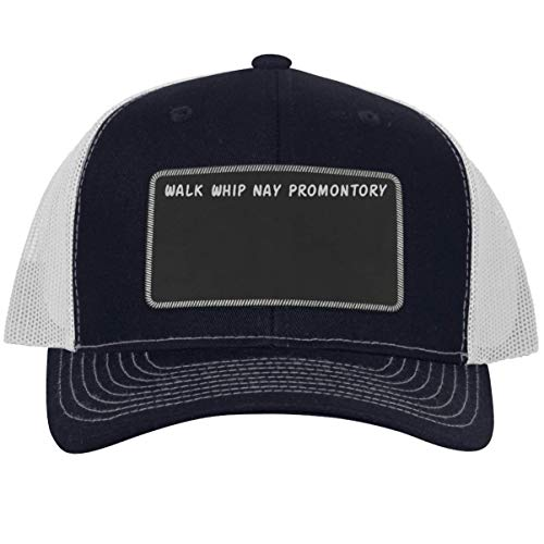got Promontory? - Leather Black Metallic Patch Engraved Trucker Hat, Navy-White, One Size