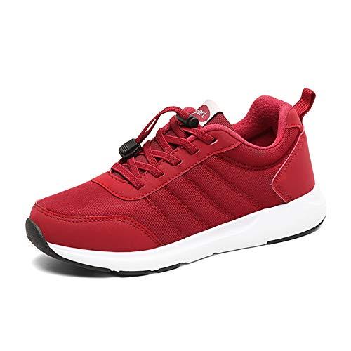 JACKES Hombres Mujeres Moda Unisex Formadores Calzado Deportivo Zapatillas De Deporte con Amortiguador De Aire Caminar Correr Aptitud Ligera Sport Running Trainer Red-38 ⭐