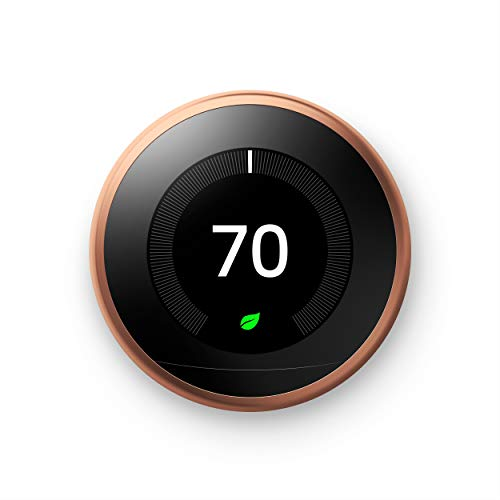 Google Nest Learning Thermostat - Programmable Smart Thermostat for Home - 3rd Generation Nest Thermostat - Works with Alexa - Copper