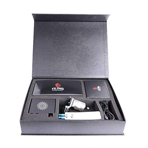 YILONG Professional Rotary Tattoo Machine Kit Gun Set For Liner and Shader Machine + Power Supply and Foot Pedal + 20 pcs Disposable cartridge Tattoo Needles 3.5RL,5.7M1 (SLIVER)
