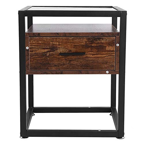 Mesita de noche retro de 2 niveles, mesa auxiliar de estilo industrial con tapa de vidrio templado, mesa auxiliar, sofá con cajón, marco de metal resistente para sala de estar, dormitorio, 43 x 43 x 5