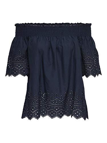 ONLY Damen onlSHERY EMB ANGLAISE OFF SHOULD DNM TOP Bluse, Blau (Night), (Herstellergröße: 38)