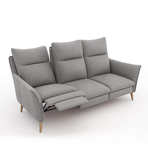 place to be. 3 Sitzer Sofa Recliner mit Zwei Liegefunktionen verstellbares Liegesofa Relaxsofa Couch Eiche Hellgrau