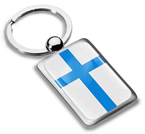 Skino 3D Metaal Finland Vlag Sleutelhanger Sleutelhanger Accessoires Mannen Vrouwen Sleutelhanger Gift KK 244