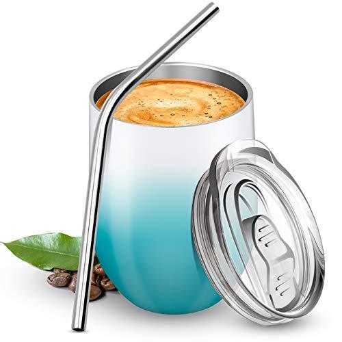 BICASLOVE Termo Taza Cafe 12oz/354ml,Botella de Agua Acero Inoxidable,Reutilizable,Botella Térmica sin BPA,con Paja y Cepillo,para Hogar,Vino,Café(Verde&Blanco)