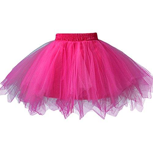 FEOYA - Jupe Tutu Fille Tulle Léger Ballet Jupe Courte Multi Couches Mini Jupe Princesse pour Fête Danse Spectacle Taille Élastique Rose Rouge