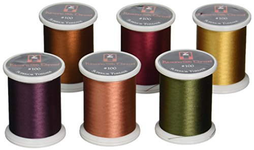 Superior Threads Kimono Silk #100 Quilting Thread 220 Yards Spool 6-Pack Set Fall 133-06