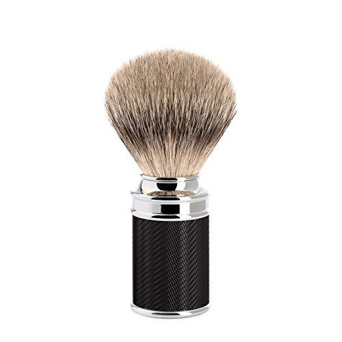 Mühle - Brocha de afeitar (tejón punta de plata, resina noble, 1 unidad), color negro