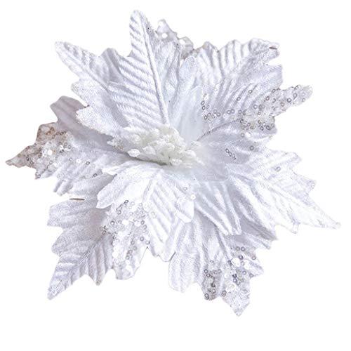 HSKB Anhänger Weihnachtsbaum Dekoration Glitzer Bunt Blumen DIY Weihnachtsstern Glitzer Weihnachten Künstliche Blume für Weihnachtsbaum Kranz Garland Ornament Party (25X25CM) 5 Stück (Weiß)