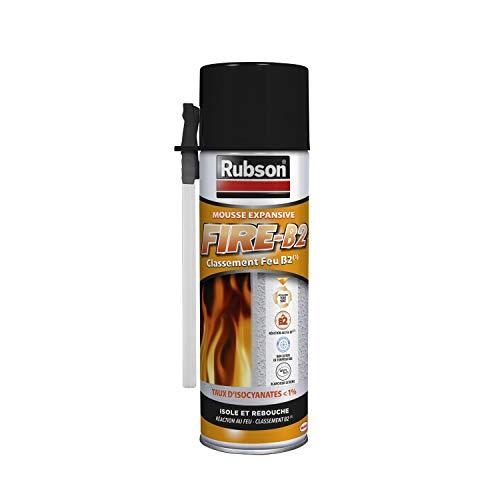RUBSON Schiuma Espansiva Fire B2Aerosol, schiuma resistente al fuoco, isolante aria, freddo e rumore, 500ml