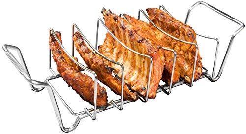 Rosenstein & Söhne Rippchenhalter: 2in1-Sparerib-Halter und Bratenkorb für Grill und Ofen, Edelstahl (Grillhalter)