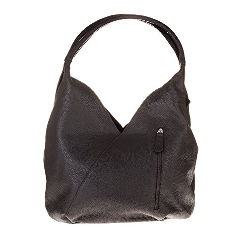 Firenze Artegiani Bolso Shopping Bag de Mujer en Piel auténtica, Acabado Savage, 36 cm, Marrón Chocolate