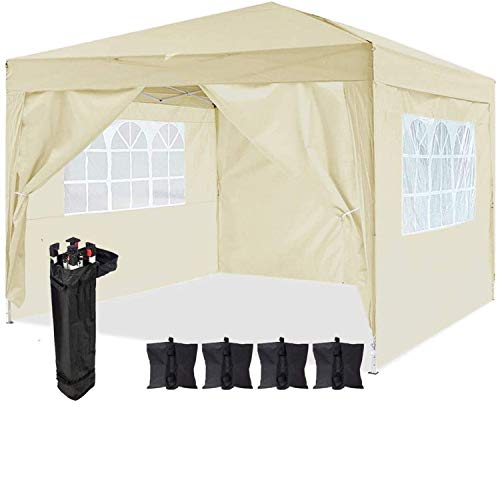 Dawsons Living Waterproof Pop Up Gazebo - 3m x 3m Pop Up Outdoor Garden Shelter with Sides - PVC Coated - Travel Bag and 4 Leg Weight Bags (Beige)