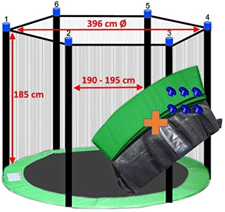 Awshop24 Trampolin Randabdeckung Hellgrün + Sicherheitsnetz 6 Stangen 396-400 cm