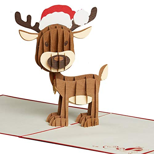 PaperCrush® Pop-Up Karte Weihnachten Rentier - Lustige 3D Weihnachtskarte für Kinder, Freundin oder Freund - Handmade Weihnachtsgrußkarte inkl. Umschlag