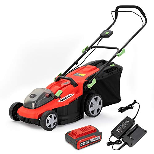 HENX 16-Inch 40V Lawn Mower Cordless, 5.0 AH Lithium-ion Battery, 3-in-1 Function, 7 Deck Height