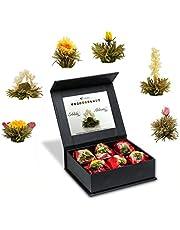 "Creano Mix de 6 Flores de Té ""Fior di Tè"" - Té en Elegante Caja Magnética con Relieve de Plata | ""Té blanco"""
