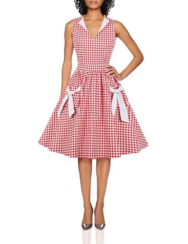 Wellwits - Vestito da donna con scollo a V, con tasca a quadri, anni '40, anni '50, stile vintage -...