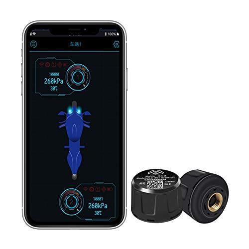 3T6B TPMS para Motocicleta con 2 Sensores de Presión Neumáticos Externos, Pantalla App de Teléfono Inalámbrico Bluetooth, Unidad de Presión e Interruptor de Temperatura, Negro